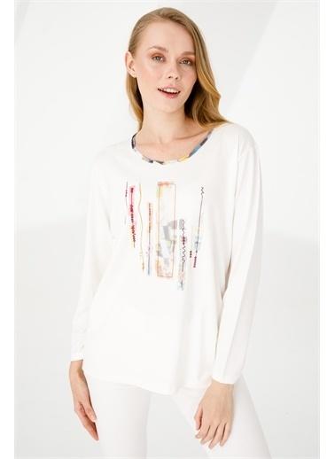 Desen Triko Bluz Beyaz